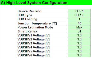 Figure 4: System configuration in power estimation spreadsheet