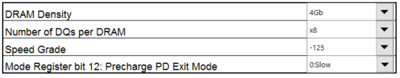 Figure 9: DDR3 configuration in power estimation spreadsheet